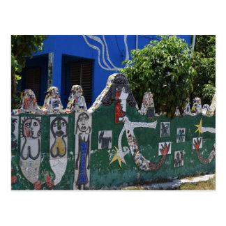 Tiled Fence Mermaid Art in Cuba Postcard