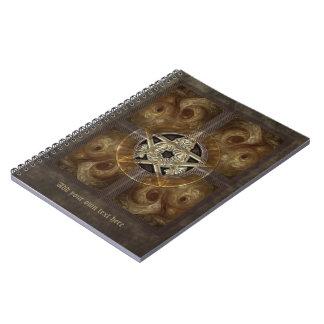 Tiled Fractal Pentacle Spiral Notebooks