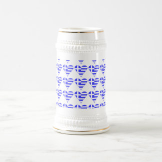 Tiled Greek Flag Heart Funky Beer Stein