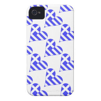 Tiled Greek Flag Heart Funky Case-Mate iPhone 4 Case