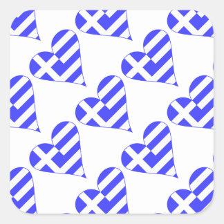 Tiled Greek Flag Heart Funky Square Sticker