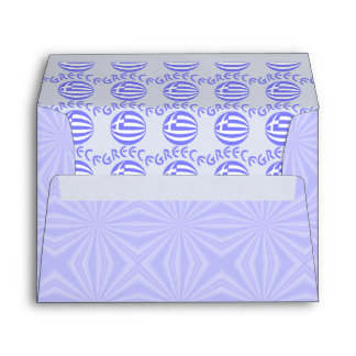 Tiled Greek Flag Sphere and Greece on Blue Squares Envelope