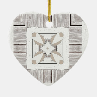 Tiled hearts on Distressed wood Design Ceramic Ornament
