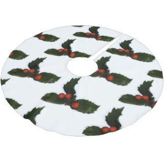 Tiled Holly Berries Brushed Polyester Tree Skirt