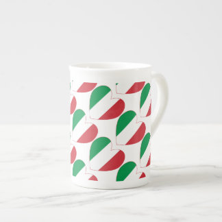 Tiled Italian Flag Heart Tea Cup
