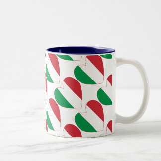 Tiled Italian Flag Heart Two-Tone Coffee Mug