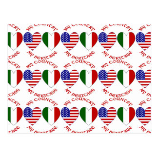 Tiled Italian USA Country Heritage Red Postcard