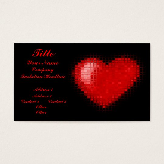 Tiled Mosaic Heart (Bright Red) Business Card