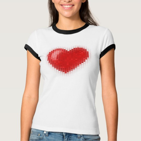 Tiled Mosaic Heart (Bright Red) T-Shirt
