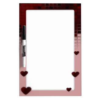 Tiled Mosaic Hearts (Deep Red) Dry Erase Board