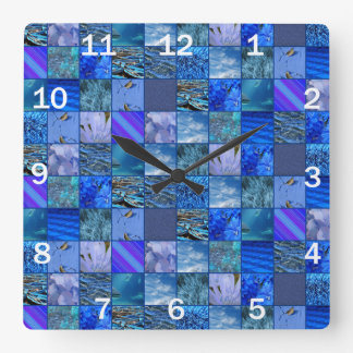 Tiled Mosaic in Blues Photography & Design Pattern Square Wallclocks