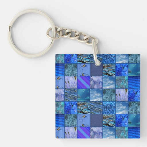 Tiled Mosaic in Blues Photography & Design Pattern Acrylic Key Chain