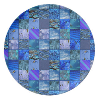 Tiled Mosaic in Blues Photography & Design Pattern Dinner Plates