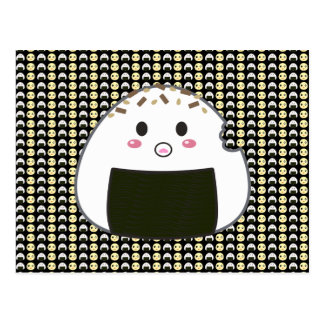Tiled Onigiri and Chick in Black Postcards