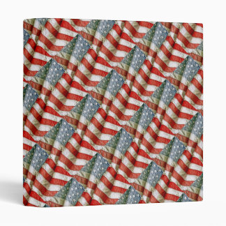 "Tiled Pattern American Flag 1"" Photo Album 3 Ring Binder"