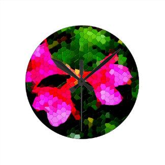 Tiled Pink Azalea Flowers Clock
