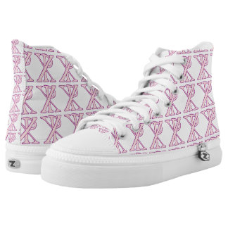 Tiled Pink Chi Ro Cross High-Top Sneakers