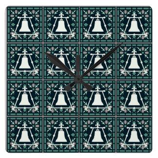 Tiled Raincross Clock - Tri Stained Glass Window