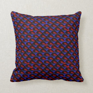 Tiled Red and Blue3D Ring Section Throw Pillow