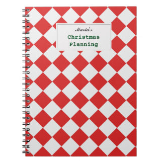 Tiled Red White Diagonal Woven Pattern any Text Notebook