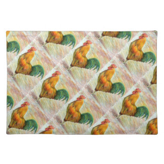 Tiled Rooster Drawing Placemat Cloth Placemat