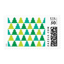Tiled Trees Christmas Postage in Green/Blue