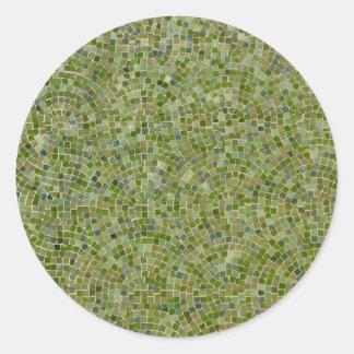 tiles green classic round sticker