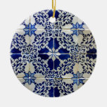 Tiles, Portuguese Tiles Double-Sided Ceramic Round Christmas Ornament