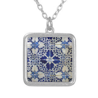 Tiles, Portuguese Tiles Silver Plated Necklace