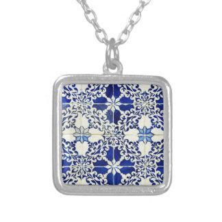Tiles, Portuguese Tiles Square Pendant Necklace