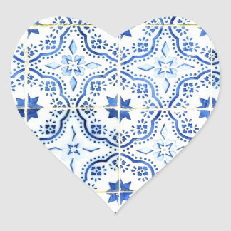 Tiles, Portuguese Tiles Heart Sticker