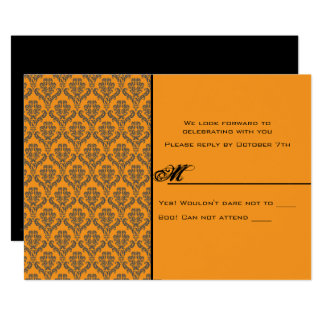 Till Death Damask Hallowedding RSVP Card