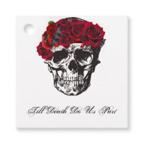 Till Death Do Us Part Red Rose Favor Tags
