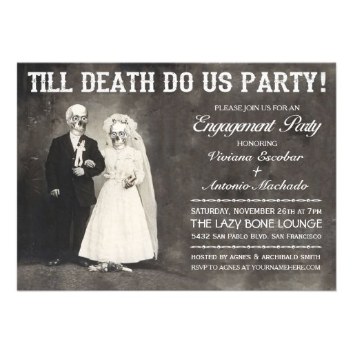 "Till Death Do Us Party Engagement Party Invitation 5"" X 7"" Invitation Card 
