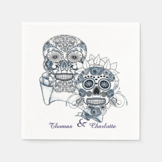 Till Death Us Do Part Sugar Skull Bride Groom Napkin