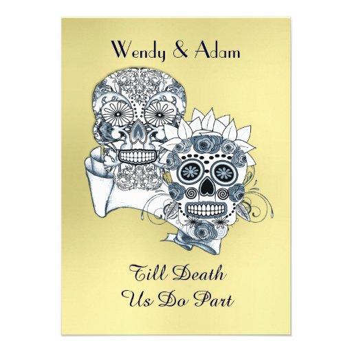 till death us do part sugar skull tattoo design paper invitation card zazzle. Black Bedroom Furniture Sets. Home Design Ideas