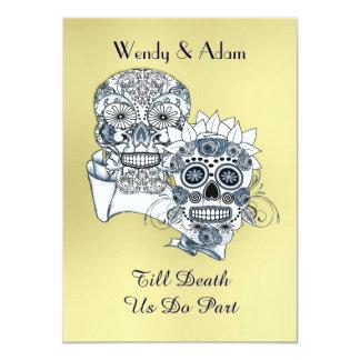 """Till Death Us Do Part Sugar Skull Tattoo Design 4.5"""" X 6.25"""" Invitation Card"""