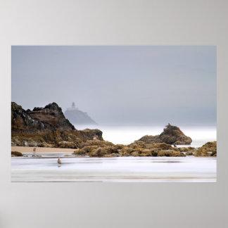 Tillamook Lighthouse Oregon Foggy Morning Poster