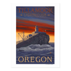 Tillamook Lighthouse Vintage Travel Poster Postcard at Zazzle