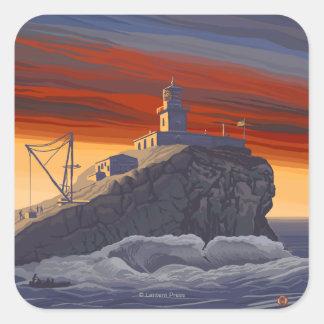Tillamook Lighthouse Vintage Travel Poster Square Sticker