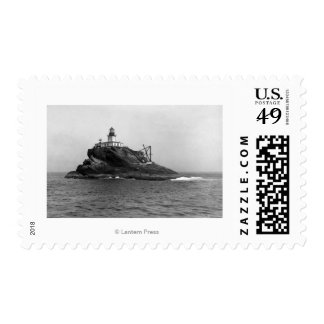Tillamook Rock, dominated by its Lighthouse Postage Stamp