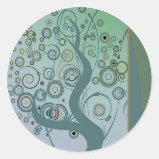 Tillbert el árbol pegatina redonda