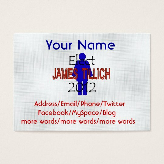 Tillich For President Business Card