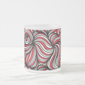 Tillie Abstract Expression Red White Black 10 Oz Frosted Glass Coffee Mug