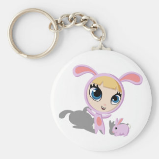 Tilly and CreamPuff Basic Round Button Keychain