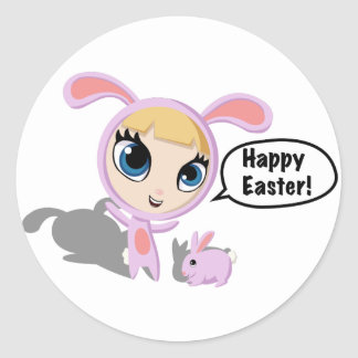 Tilly and CreamPuff Happy Easter! Classic Round Sticker