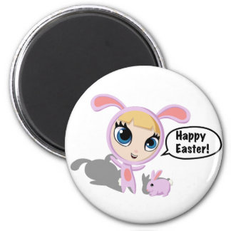 Tilly and CreamPuff Happy Easter! 2 Inch Round Magnet