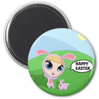 Tilly and Creampuff the Rabbit 2 Inch Round Magnet