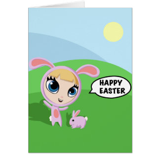 Tilly and Creampuff the Rabbit Greeting Card