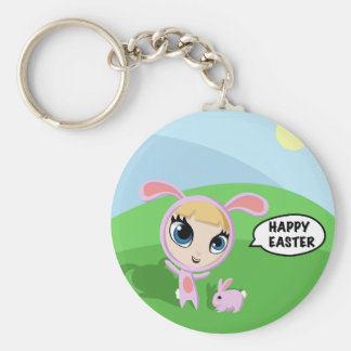 Tilly and Creampuff the Rabbit Basic Round Button Keychain